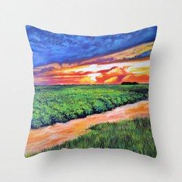 Turnrow Sunset Throw Pillow