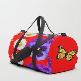 PURPLE PANSIES, WHITE DAISIES, MONARCH BUTTERFLIES RED ART Duffle Bag