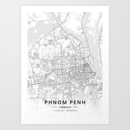 Phnom Penh, Cambodia - Light Map Art Print