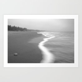 Misty Curracloe Beach, Raven Point, Wexford, Ireland Art Print