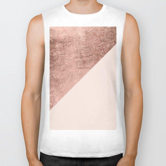 Minimalist blush pink rose gold color block geometric Biker Tank