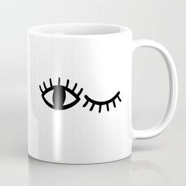 Eyes with Eyelashes Winking Coffee Mug