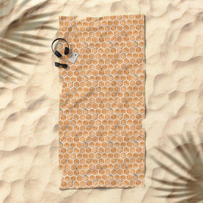 Honey Bee Hexagons Beach Towel