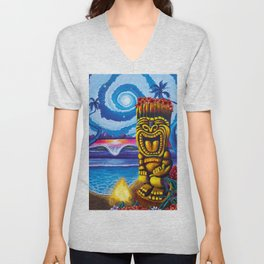 Tiki Moon Unisex V-Neck