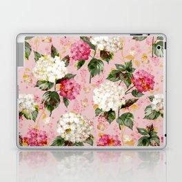 Vintage green pink white bohemian hortensia flowers Laptop & iPad Skin