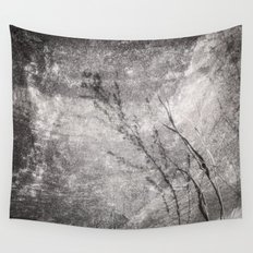 Black and White Grass Shadows on Stone Wall Tapestry