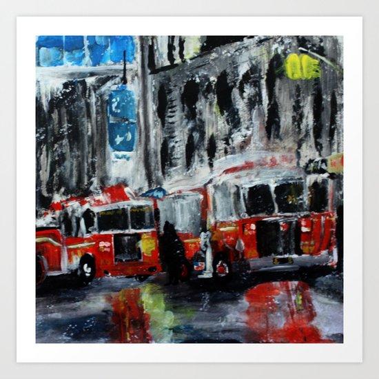 New York Fire Trucks Fine Art Acrylic Painting Art Print