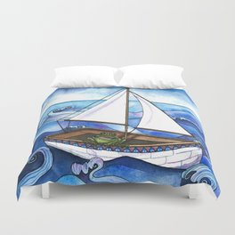 Froggy Goes Sailing Duvet Cover