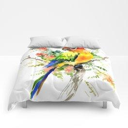 Sun Conure Parakeet, tropical colors parrot art design Comforters