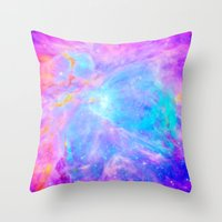nebula Throw Pillows featuring Orion nebulA : Bright Pink & Aqua by 2sweet4words Designs