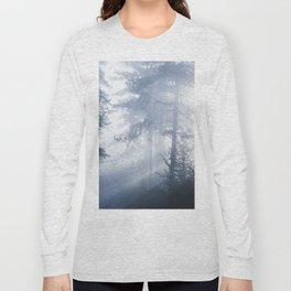 Sun rays shinning through foggy forest Long Sleeve T-shirt