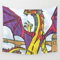 dragon Wall Tapestries featuring Dragon by Vickn