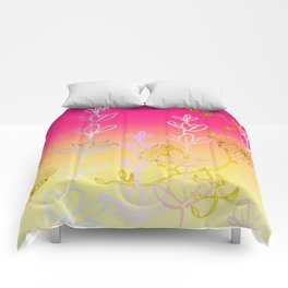 Metallic gold, rose gold, floral field Comforters