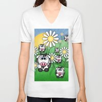 cows V-neck T-shirts featuring Cows & Daisies  by Digi Treats 2