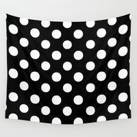polkadot Wall Tapestries featuring Polka Dots (White/Black) by 10813 Apparel