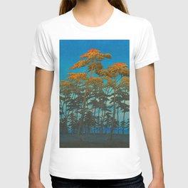 Vintage Japanese Woodblock Print Art Print Tall Sunset Trees Silhouette Twilight Forest East Asian T-shirt