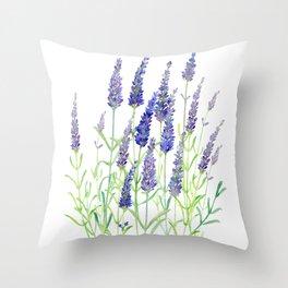 Watercolor Lavender Bouquet Throw Pillow