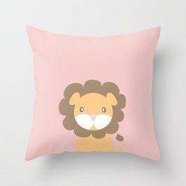 Lion - Pink Throw Pillow
