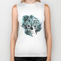 ohm Biker Tanks featuring Blue grunge ohm skull by Kristy Patterson Design