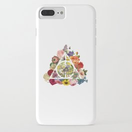 Floral Deathly Hallows - White iPhone Case