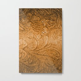 Golden Tan Tooled Leather Metal Print