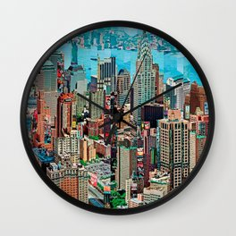 Stressless - New York City Skyline - Empire State Building Photograph on Canvas by Serge Mendjisky Wall Clock
