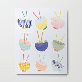 Colorful Bowls with Chopsticks Metal Print