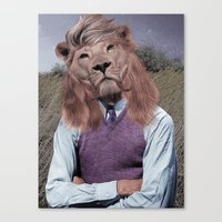 hipster lion Canvas Prints featuring Hipster Lion by Rafael Matos