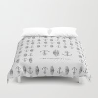 sailboat Duvet Covers featuring Anchor & Sailboat by fjopus7