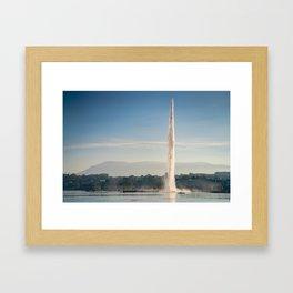 Lake Geneva Fountain Framed Art Print
