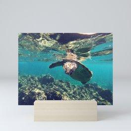 Sea Turtle Dive Mini Art Print