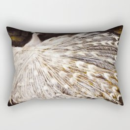 White Peacock Oil Painting Rectangular Pillow