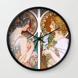 Alphonse Mucha Primrose and Feather Wall Clock