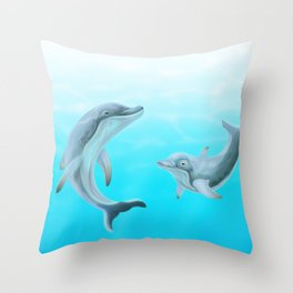 Dolphins Swimming in the Ocean Throw Pillow