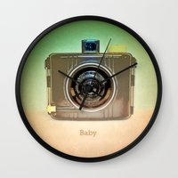 baby Wall Clocks featuring Baby... by Lisa Argyropoulos