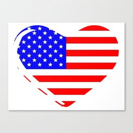 Stars and Stripes Heart Canvas Print