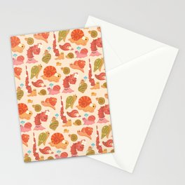 Snail and small flowers Stationery Cards