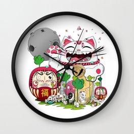 Maneki-neko in the magical world Wall Clock