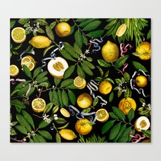 LEMON TREE Black Canvas Print