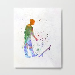 Man skateboard 09 in watercolor Metal Print