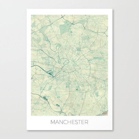 Manchester Map Blue Vintage Canvas Print