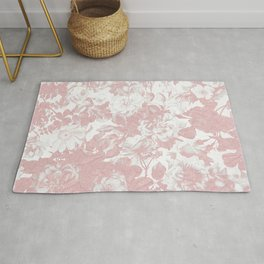 Girly trendy pink coral white lace floral Rug