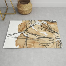 Abstract coffee stain and marker lines Rug