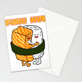 Perfect Sushi Hug Tee For Sushi Lovers Illustration Different Kinds Of Sushi Roll Chopsticks T-shirt Stationery Cards