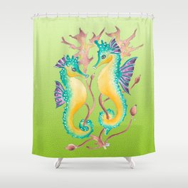 Seahorses Kelp Lime Shower Curtain