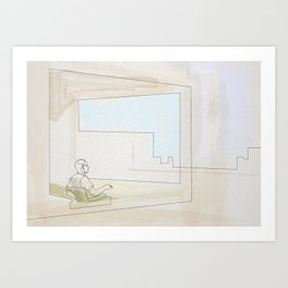 Hopper Linea 2 (office in a small town) Art Print