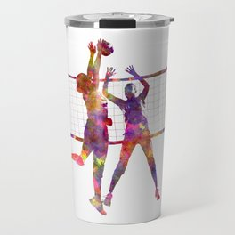 Women volleyball players in watercolor Travel Mug