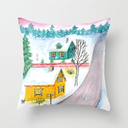 Christmas Winter Scenery Painting Throw Pillow