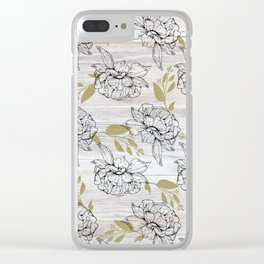 Rustic white wood black elegant faux gold floral Clear iPhone Case