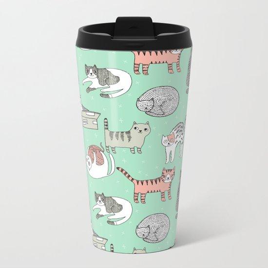 Cat pattern cute nursery cat lady kittens by andrea lauren Metal Travel Mug